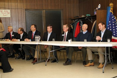The seven gubernatorial candidates await the start of the debate.  They are (L-R): Mike Foley, Chuck Hassebrook, Bryan Slone, Beau McCoy, Tom Carlson, Pete Ricketts, Charlie Janssen.