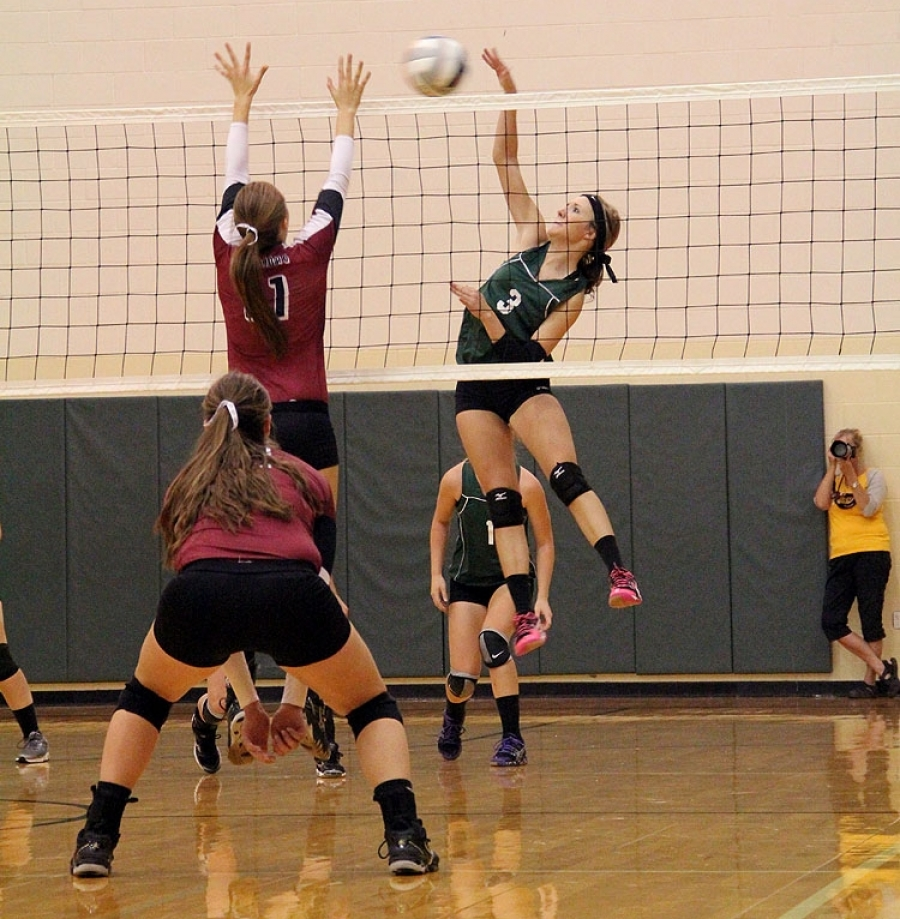 Whitney Heiting spikes the ball against Leyton last Thursday.