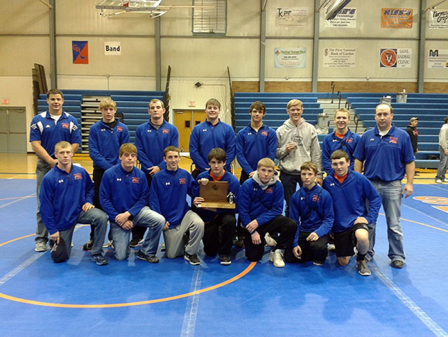 The Gordon-Rushville Mustangs won the Western Trails Conference Wrestling Title at home on Thursday, January 9. Pictured left to right back row: Coach Linholm, Shane Child, Ken Graham,  Brice Stangle, Casey Glassgow, Tyrell Denton, J.J. Hilliker, Coach House. Front row: Micah Scherbarth, Taylor Hood, Garrett Shadbolt, Tristen Tuma, Cole Witt, Logan Belsky, Mace Bixby.