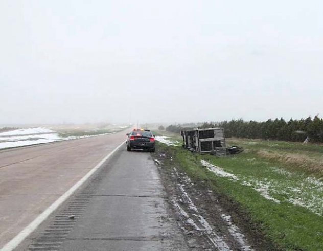 This semi tipped over just east of Hay Springs Tuesday morning.