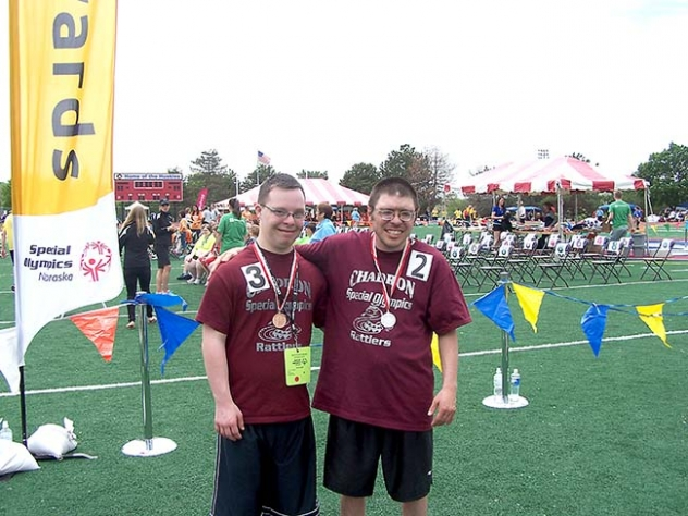 Paul Kruger from Gordon (left) and Russell Moore from Chadron (right) did a great job at the Special Olympics Summer Games in Omaha on May 22-24.