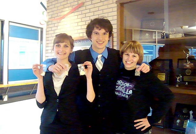 Pictured are the Gordon-Rushville State qualifiers left-right: Rachel Johnson, Michael Barth and Sara Ginkens.