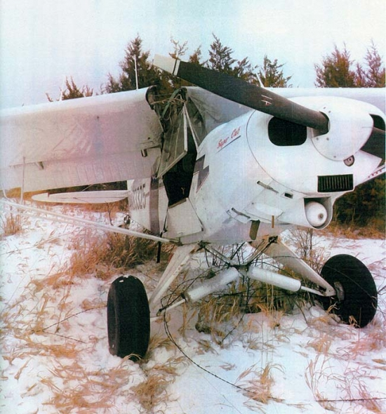 This plane sustained major damage when it crashed south of Gordon.