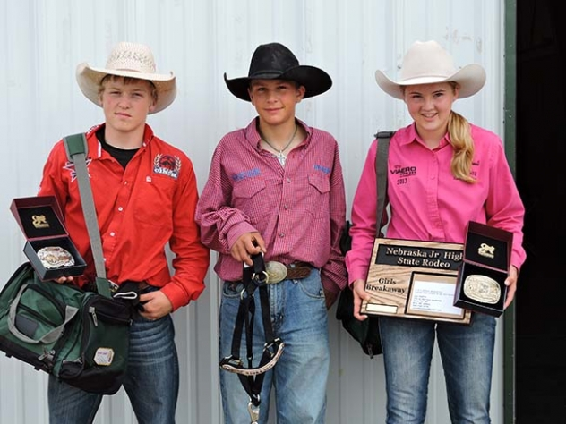 Pictured left-right are: Blake Henry, Caleb Hilliker, and Morgan Darnell who competed at the Nebraska State Jr. High School Finals over the weekend.