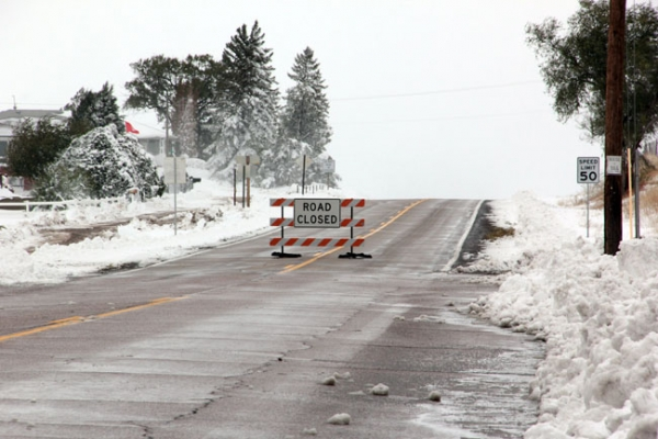 Many roads were closed through the weekend due to the heavy drifting snow.