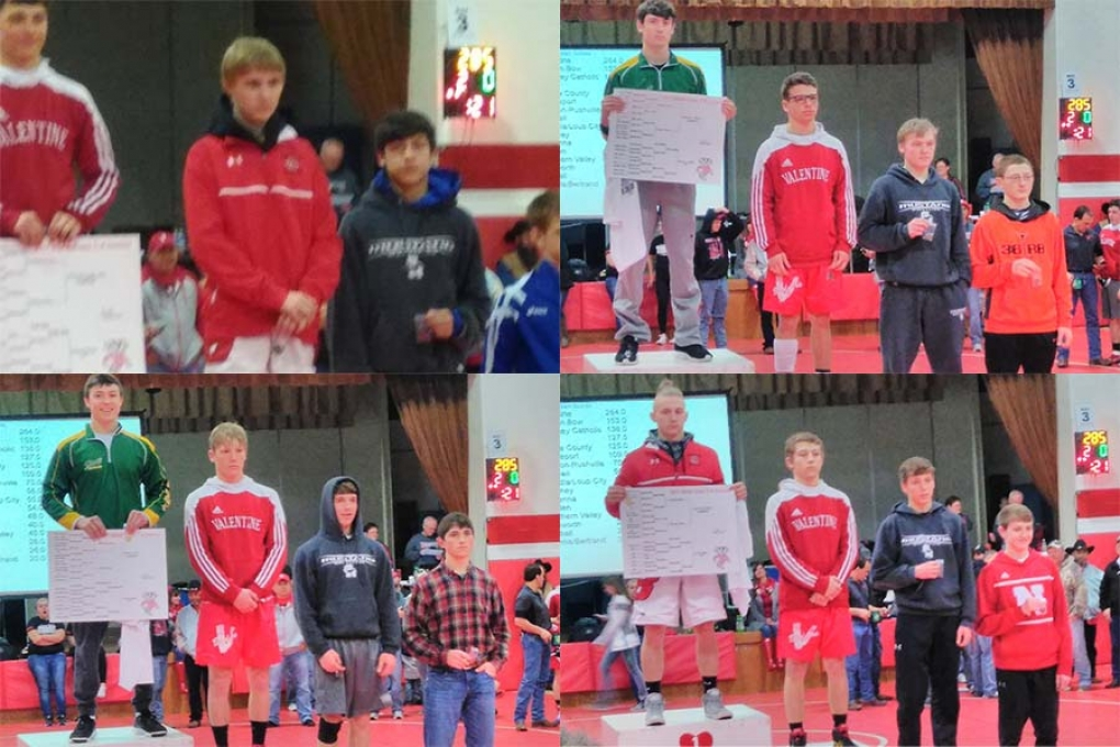 Clockwise from top-left: Tyrell Means, Blake Henry, Qui9n Child and Logan Belsky of Gordon-Rushville all finished 3rd at the district tournament to advance to state in Omaha this week.