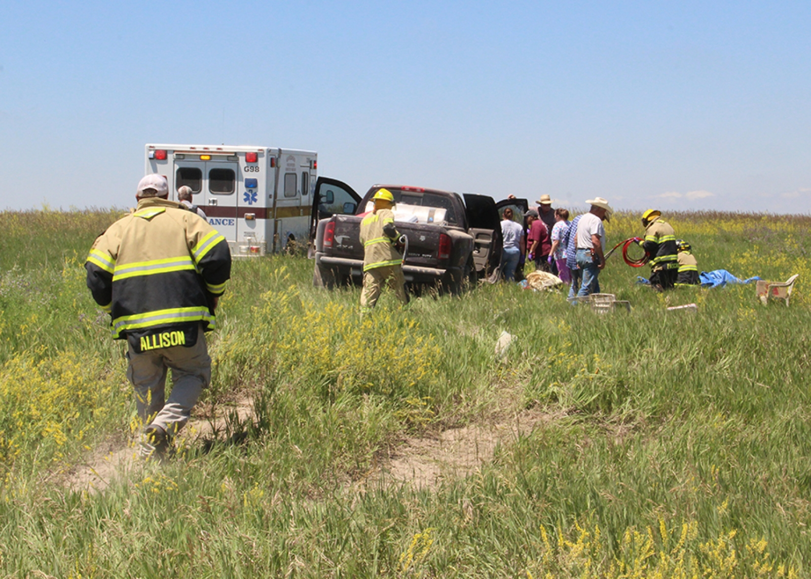 Driver transported to Gordon Memorial after pickup ends up in field