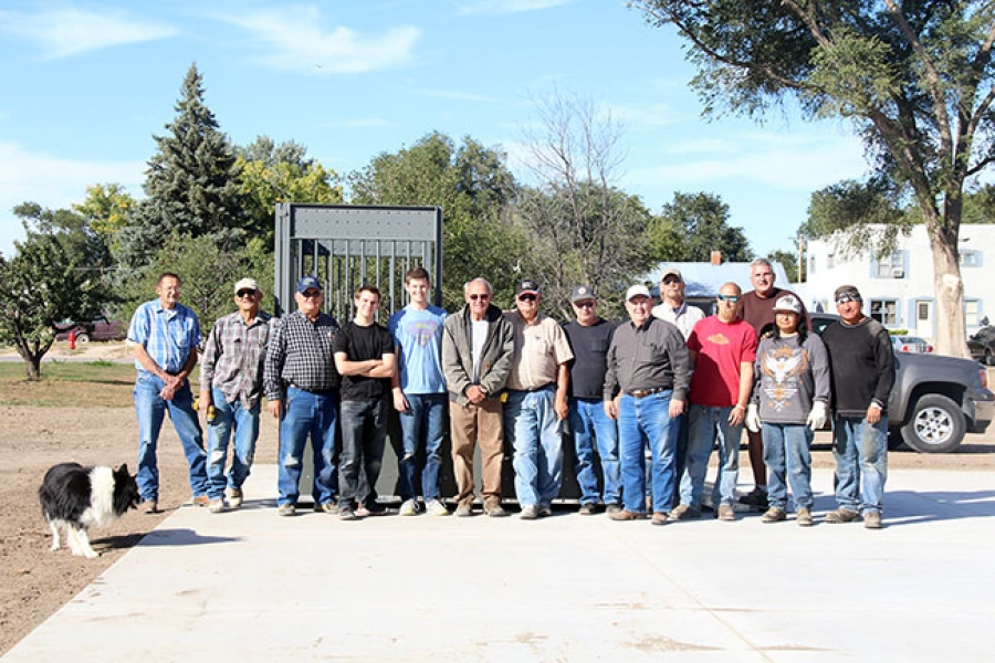 Volunteers from the Lions Club, community and a couple of city employees worked all day last Wednesday putting up ramps, grind rails and benches at the new Whirl Wind Skate Park in Gordon, Neb. Pictured left to right: Ken Gibson, Fred Russell,Dale Adkinson, Elder Tanner Copher, Elder Andrew West, Kelly Grant, Mike Winters, Ken Ward, Fred Hlava, Terry Eaton, Shane Pascale, Brian Rumpza (installation specialist), Andrea Fast Horse and Lyle Conquering Bear.