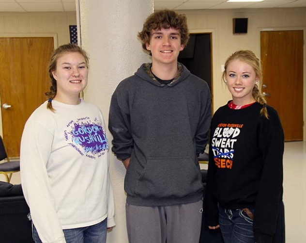 Gordon-Rushville's Jennaya Hill, Rylan Hurd, and Robin Ferguson wrapped up their seasons at the 2015 State Speech Competition in Kearney on Thursday.