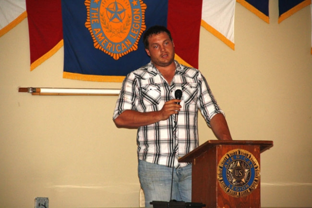 Bud May speaks at the meeting held in Gordon last Thursday.