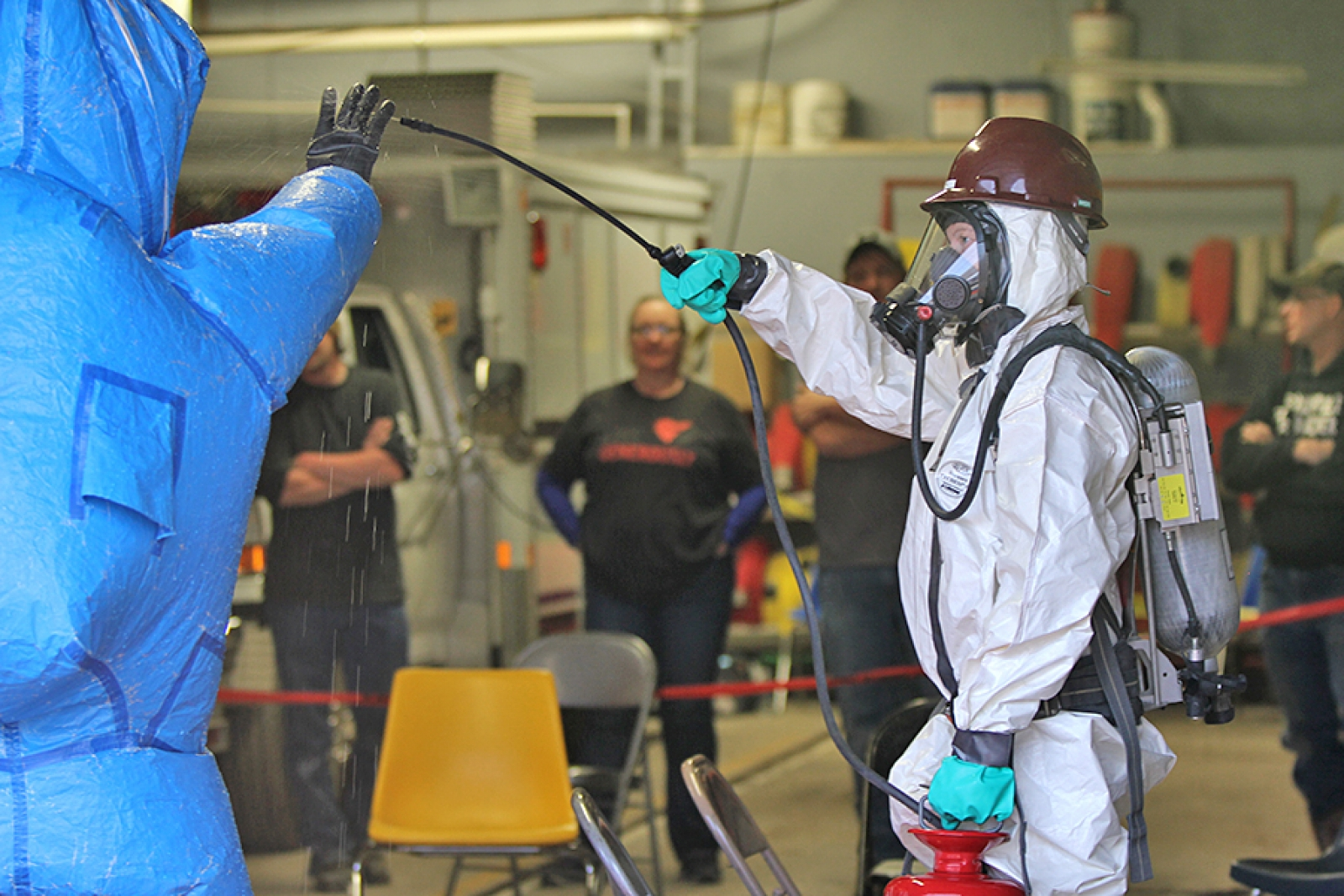 Gordon Firefighters participate in Decon training for chemical spill