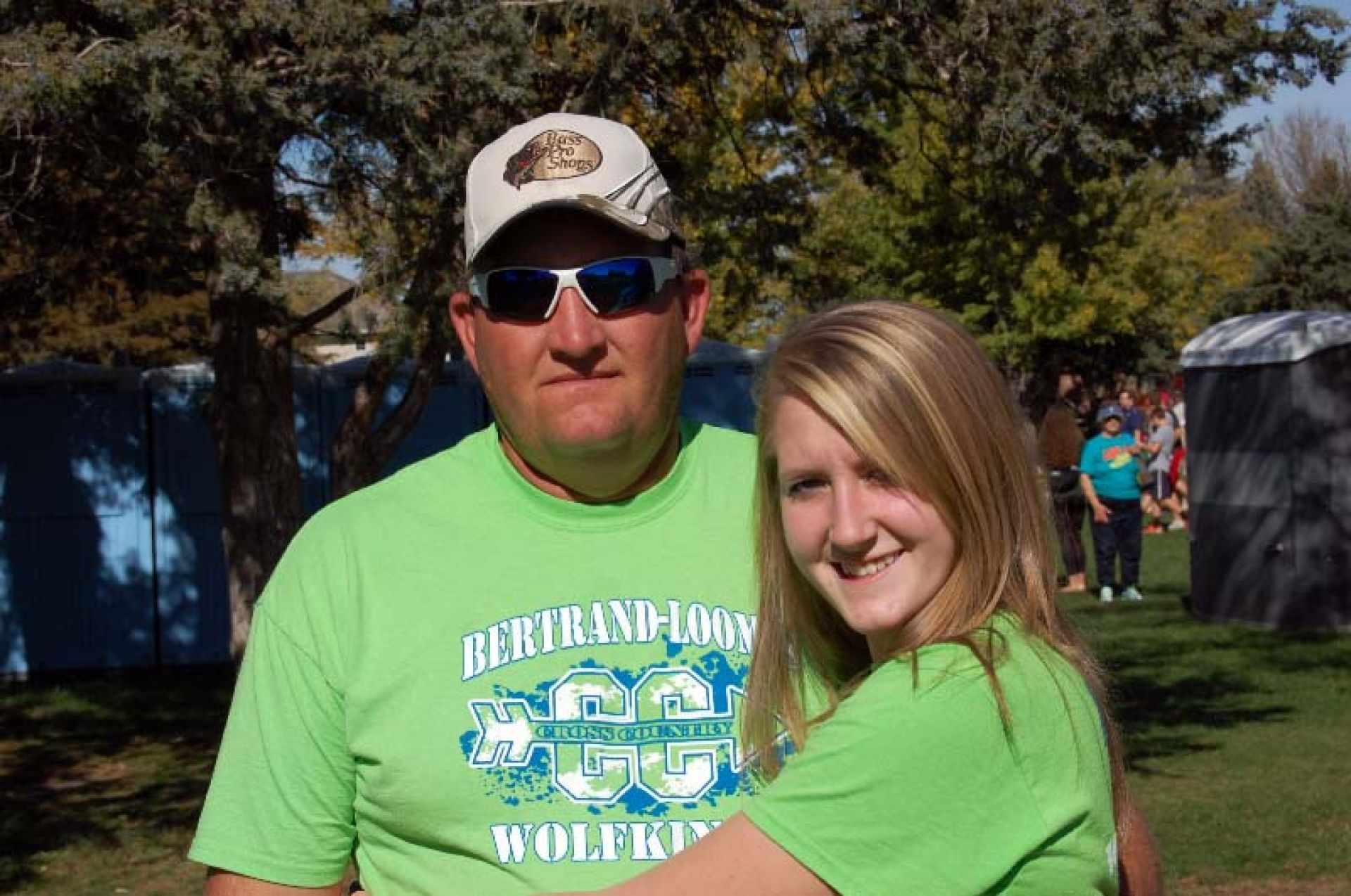 Joe Kennedy and his daughter Jordyn at the Cross Country Championships in Kearney, Neb.