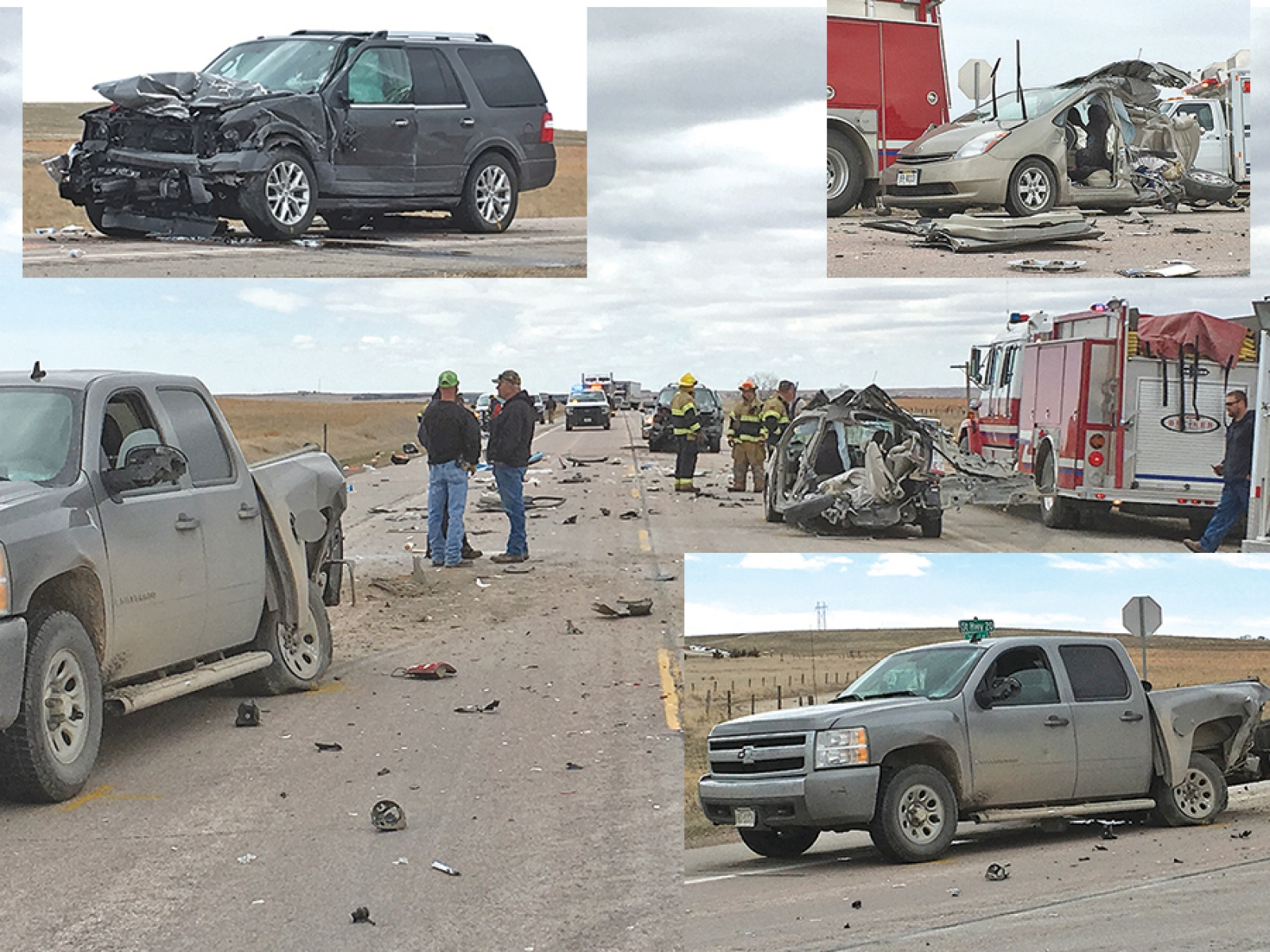 3-vehicle accident totals 2 vehicles, results in minor injuries