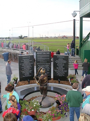 The new donor plaza stands proudly at the New Modisett Ball Park, honoring major and in-memoriam donors to the project.
