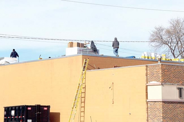 A new rubber roof was installed on the Gordon movie theater last week.
