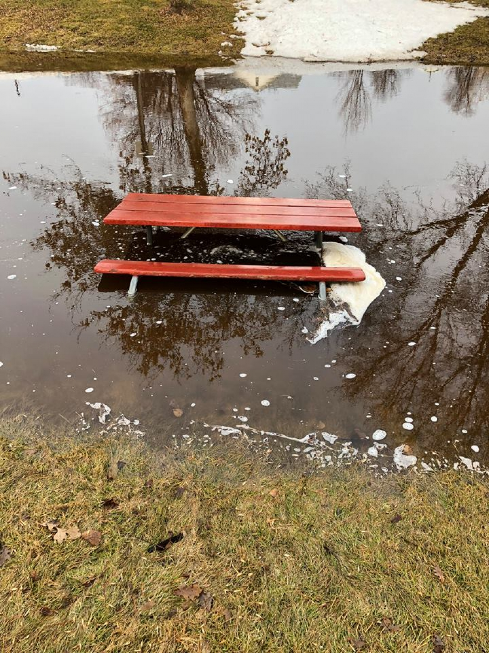Picnic tables were pushed into the Antelope Creek in the Gordon City Park on two separate occasions over the weekend.