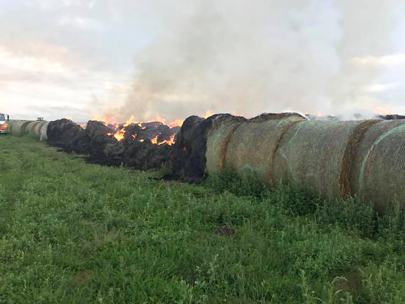 Monday, August 6 at 7:10 a.m., the HSVFD was called to a bale fire south of Hay Springs. There were approximately 100 bales lost from lightning. The Hemingford fire department was also called to the fire. No other loses are reported besides the bales.
