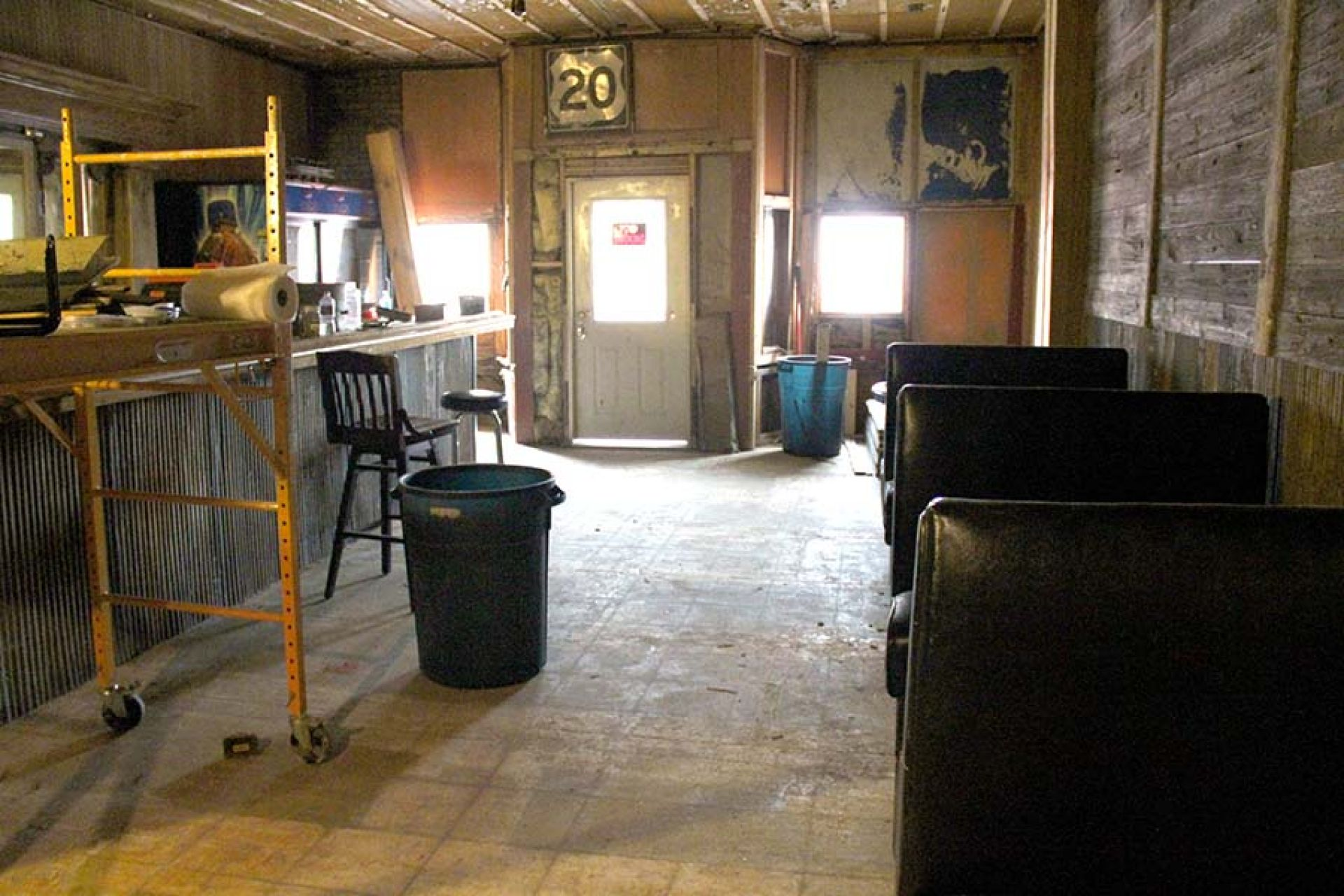 The bar and sitting area at The 20 Bar in Rushville, Neb.